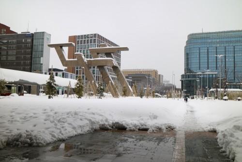 2018.2.7大雪の金沢駅前